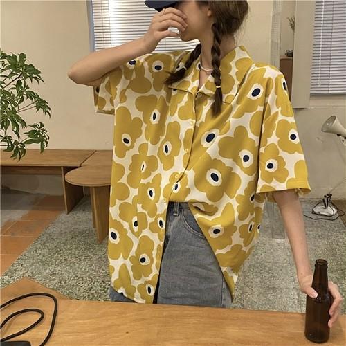 可愛い オシャレ カジュアル POLOネック 半袖 花柄 人気 トレンド シャツ・トップス