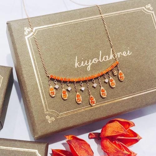 【kiyolakrei】キヨラクレイ ビーズコーラル ネックレス 赤珊瑚 ダイヤモンド K10 k3a09nr (CORALIA)