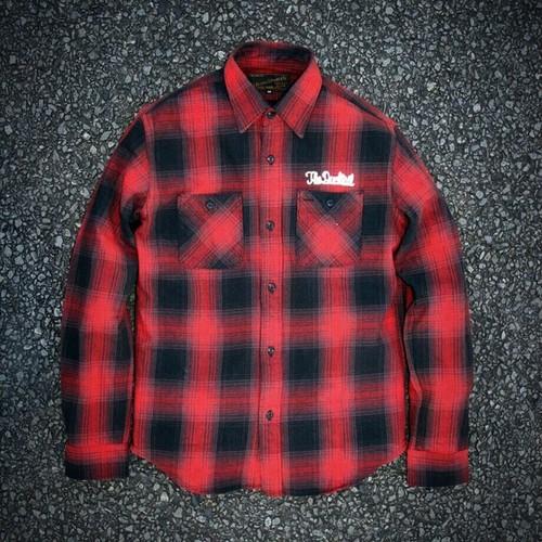 "DUCKTAIL CLOTHING""NEEDY"" FLANNEL SHIRT RED ダックテイルクロージング オンブレチェック ネルシャツ"
