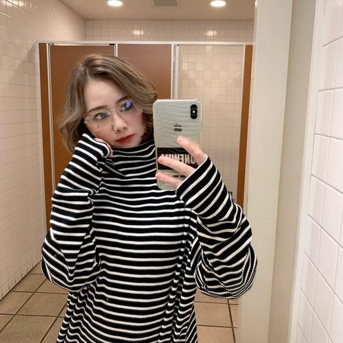 【即納】韓国ファッション リブボーダーハイネックルーズT