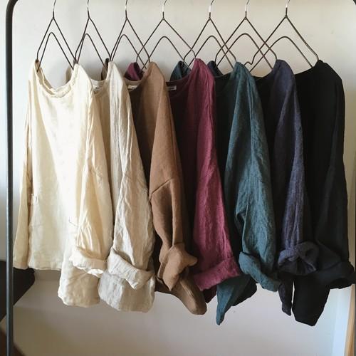 -予約販売  10/20まで受付-  drop shoulder pullover / linen & wool
