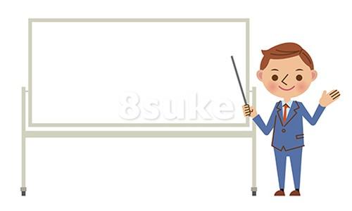 イラスト素材:ホワイトボードを使ってプレゼンする若いビジネスマン(ベクター・JPG)