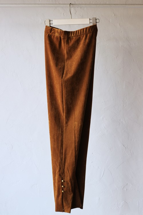 【eicayoshinari】tule velvet slit pants-brown