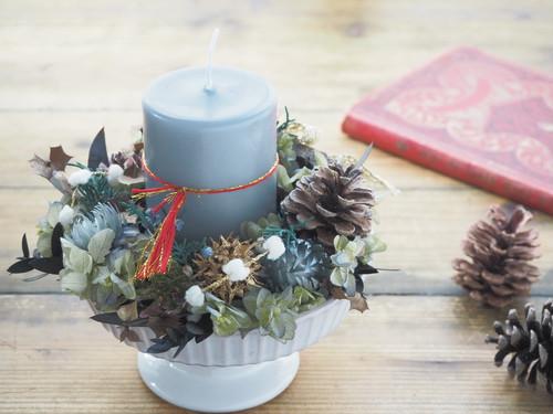 Lavender mist *器付き グレイッシュ クリスマスキャンドルリース キャンドルアレンジメント プリザーブドフラワー 花