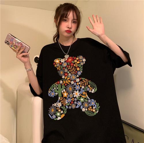 【tops】売り切れ必至カジュアルプリントラウンドネック大きいサイズTシャツ3色