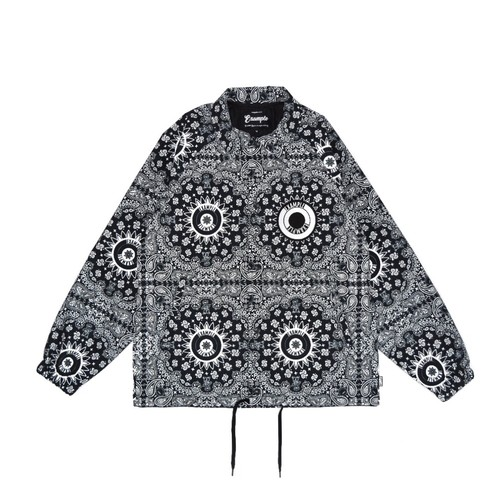 PAISLEY PATTERN NYLON JACKET / BLACK&WHITE
