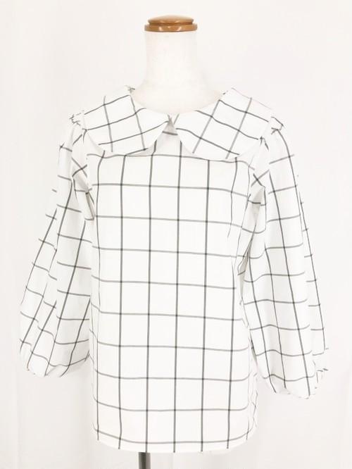 白×グレー ビジネスシーンで着たい西脇産先染め生地で作った 可愛いバルーン調八分袖のシンプルで上品な丸襟ブラウス 一点もの 手作り 通勤 通学 コットン100%  オーバーブラウス 快適 万能