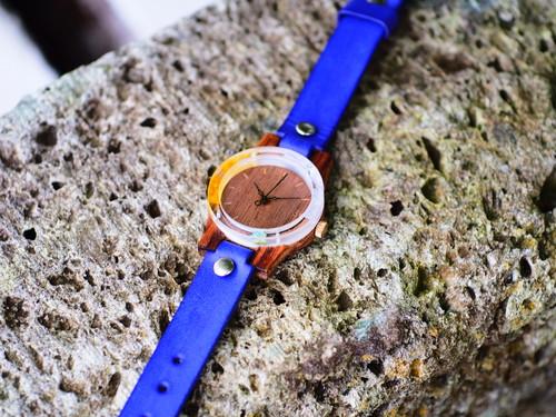 紫陽花と向日葵の押し花フレームの木製腕時計