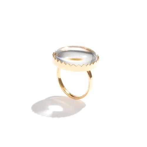 水晶ゴールドフレームリング / 円形