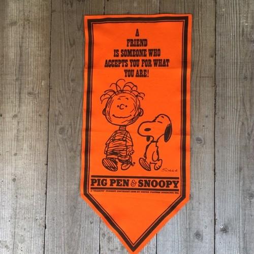 "PEANUTS 1968 FELT BANNER ""PIGPEN&SNOOPY"" ORG  / ピーナッツ 1968年 フェルト バナー""ピグペン&スヌーピー"" オレンジ"