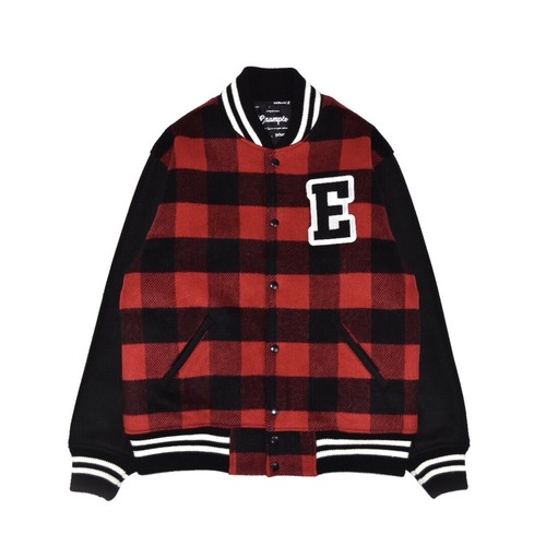 CHECK COLLEGE JACKET / BLACK x RED