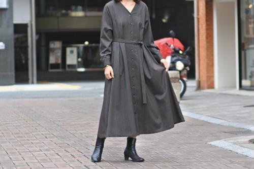 【Phlannèl】Winter Stripe V-neck Maxi Dress Brown×Yellow