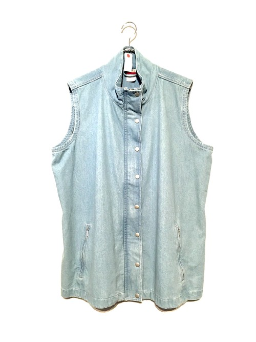 Stand-collar Denim Vest