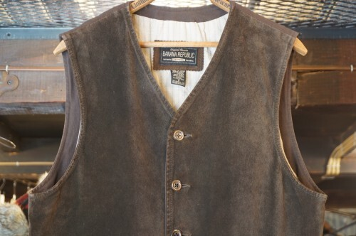90's BANANA REPUBLIC nubuck-leather Vest for CANADA