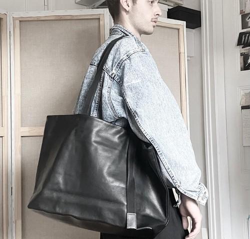 172ABG01 Leather tote wide 'adjustable shoulder' トートバッグ