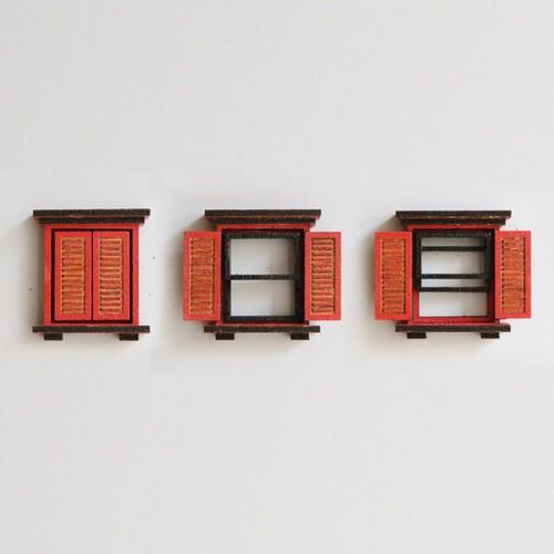 冷蔵庫がビルに。/赤色の窓のマグネット3個セット