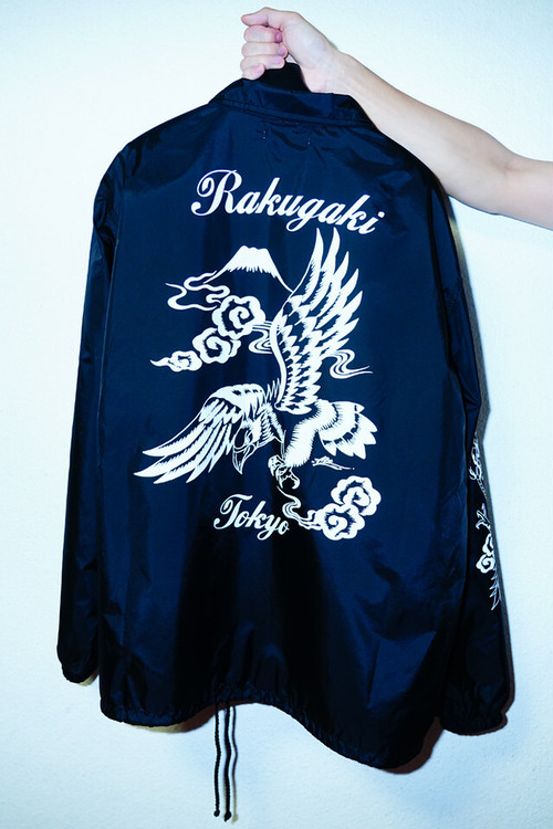 "[予約商品]RAKUGAKI ""BLACK HAWK"" Coach Jacket Black"