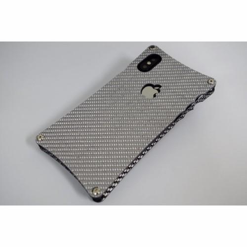 iPhoneXS用シルバーカーボンケース