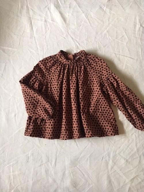 dot shirts col.2 茶×黒ドット Sサイズ Mサイズ