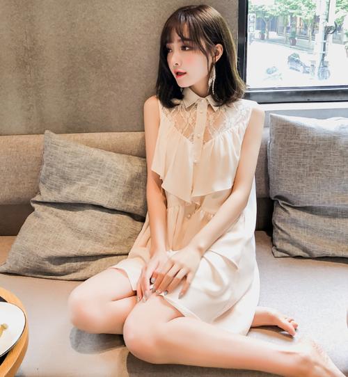 【送料無料】エレガントに♡フリルシフォンワンピース シャツ襟