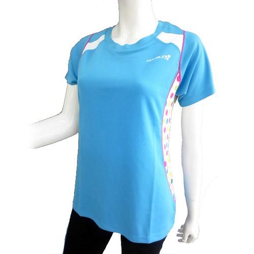 【DOUBLE3(ダブルスリー / ダブル3)】 レディース DW-5280 ライトブルー マルチ水玉 ランニングTシャツ