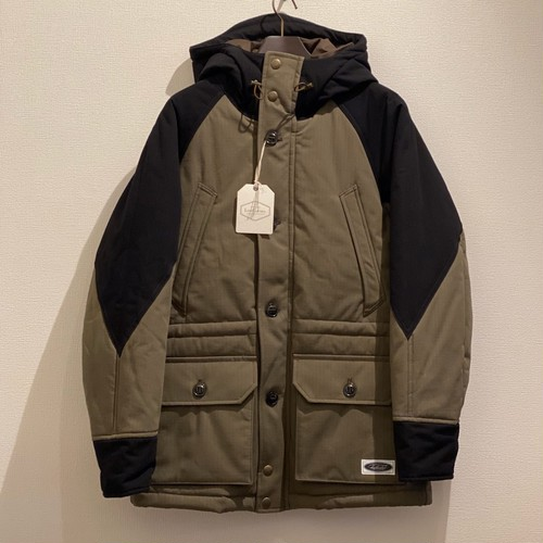 HOODED PADDING JACKET (OLIVE × BLACK) / LOST CONTROL