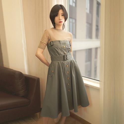 スプリングサマースタンダードトップス スカート ドレス コットン レトロ 春物 夏物 ILIAD5378466
