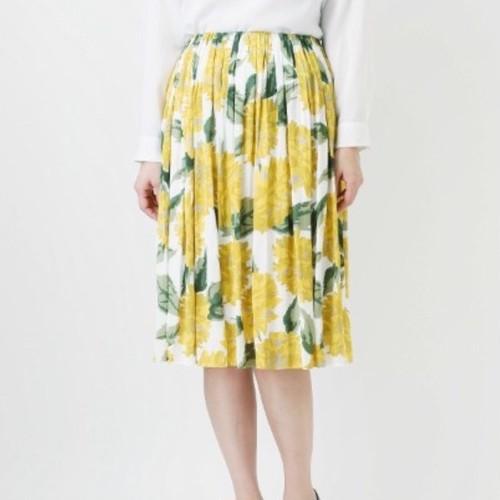 【yangany】 ミディ丈 花柄ギャザースカート