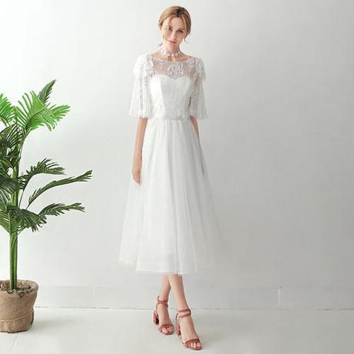 6bc908b8ad54f ウエディングドレス*ミモレ丈*ドレス+ボレロ*レース ドレスワンピース結婚式、