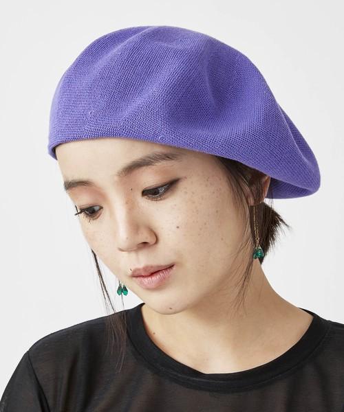 綿素材ビッグベレー帽(パープル)