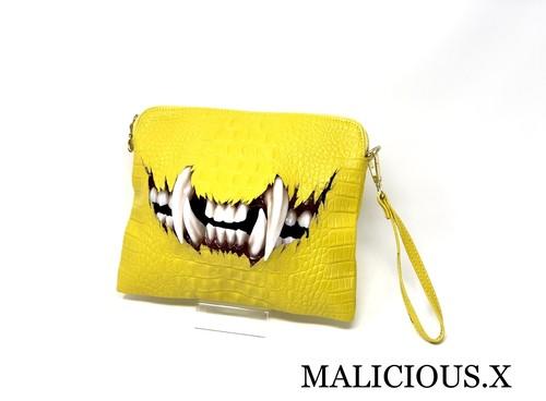 cat fang shoulder & clutch bag / yellow