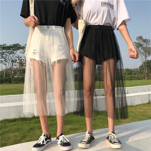春コーデシースルー♪かわいいギャザースカート