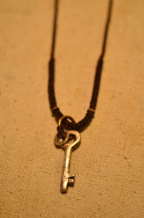 Old key silver necklace