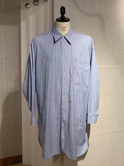 Marvine Pontiak shirt makers Long Length SH Blue Stripe