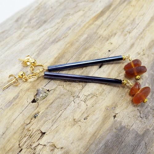 Arrows vintage beads × シーグラスのピアス