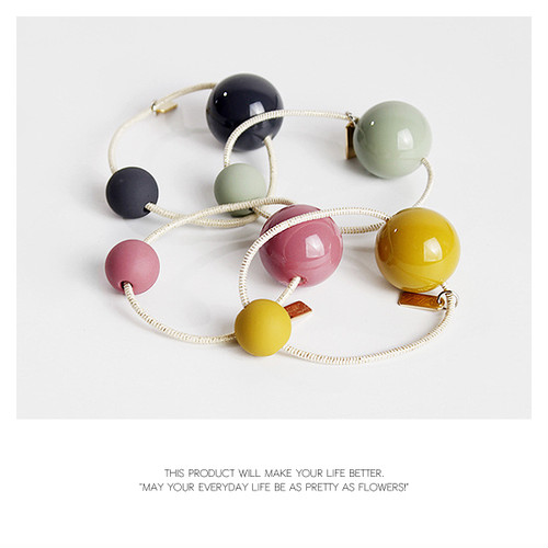 【hair rubber】4color Color ball simple hair rubber [kgf0488]
