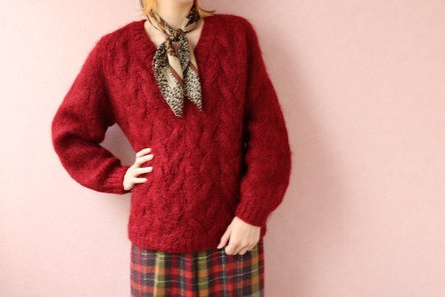 60's red mohair knit