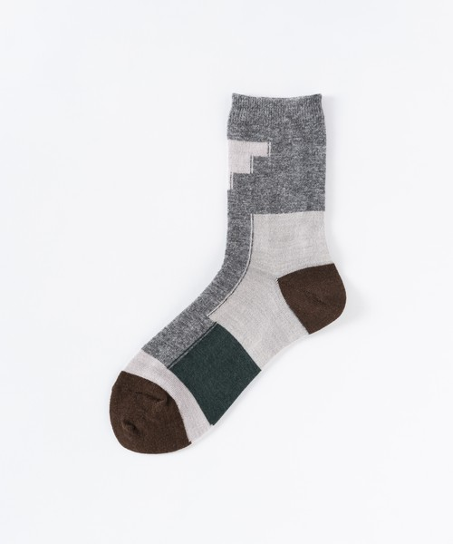 【TRICOTÉ】COLOUR BLOCK SOCKS:グレー