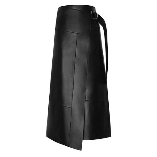 アシメバックルラップレザースカート