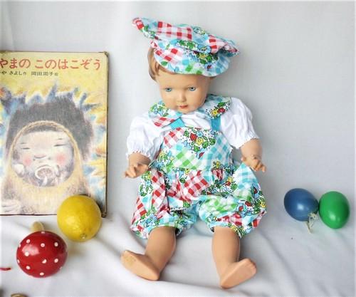 ドイツ 人形のお洋服 レトロ 3ピースセット 60~70年代ファッションブラウス・サロペット・キャスケット