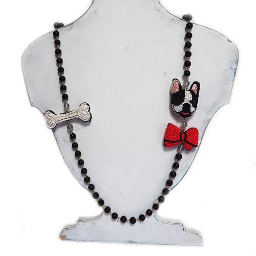 刺繍ネックレス フレンチブルと赤リボン