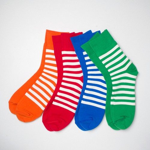 メンズソックス decka de- 07 REVERSIBLE SOCKS PLAIN×STRIPS