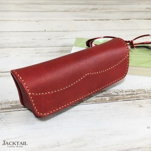 眼鏡ケース/手縫い オイルレザー 牛革(赤)