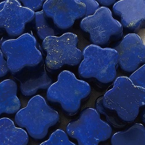 ラピスラズリ 天然石 クローバー ペア モチーフ パワーストーン 素材 10mm*4個セット