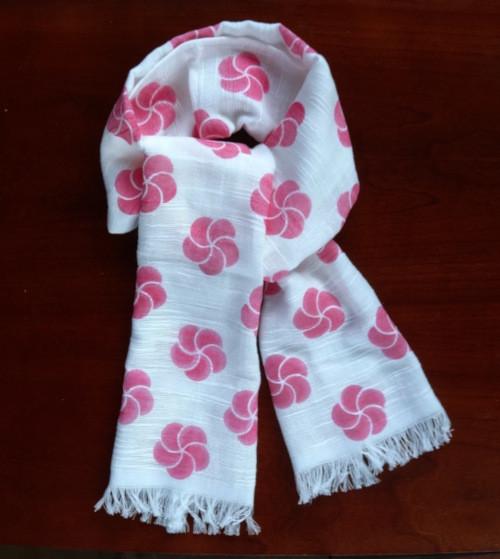 <受注制作>ピンクの梅のコットンマフラー