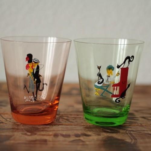 ヴィンテージ レトロな絵の小さなペアグラス