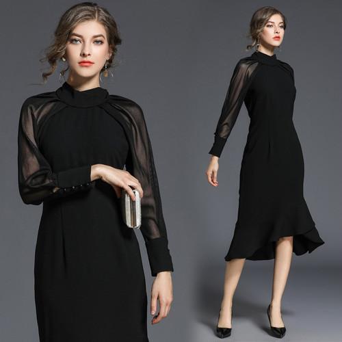 マーメイドスカートドレス S~XL ワンピース ドレス 長袖 透け感 ひざ下丈 フリル 秋冬 二次会 お呼ばれ パーティー