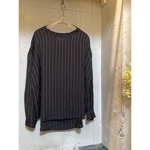 【hippiness】cupro long sleeve (stripe black)/【ヒッピネス】キュプラ ロングスリーブ(ストライプ ブラック)