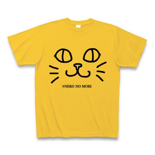 【送料込】ねこのもりオリジナル キャットフェイスTシャツ にっこり猫 ゴールドイエロー