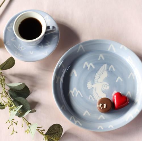 シロフクロウ デミタス&デザート皿セット